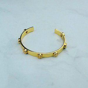 Tory Burch Milgrain Gold Logo Cuff Bangle_52